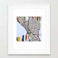seattle Framed Art Prints featuring Seattle by Mondrian Maps