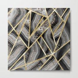 Black Night Agate Gold Geometric Glam #1 #geo #decor #art #society6 Metal Print