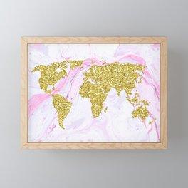 Gold Glitter World Map on Marble Framed Mini Art Print