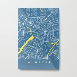 MUNSTER City Map - Germany | Blue | More Colors, Review My Collections Metal Print