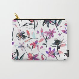 Ink flowers pattern - Viola Carry-All Pouch