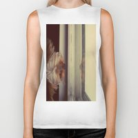 yorkie Biker Tanks featuring Yorkie Daydreaming by Kirsten Renfroe Photography