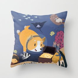 Diving For Treasure! Throw Pillow