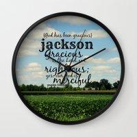 percy jackson Wall Clocks featuring Jackson by KimberosePhotography