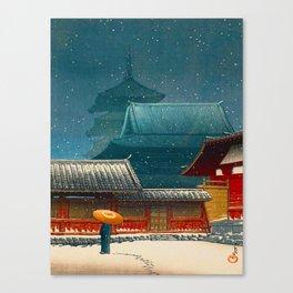 Vintage Japanese Woodblock Print Japanese Red Shinto Shrine Pagoda Winter Snow Canvas Print
