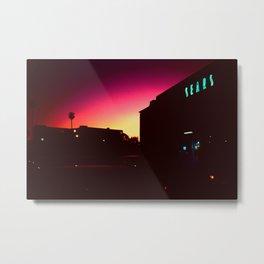 Night Lights Santa Monica Sears Metal Print