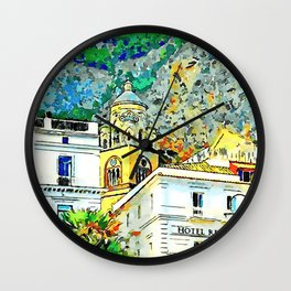 Buildings, bell tower and rock Wall Clock