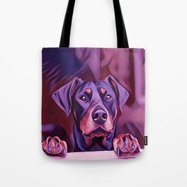 Doberman Looking Out The Window Tote Bag