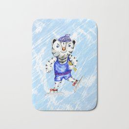 Sporty White Tiger Skating Bath Mat