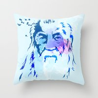 gandalf Throw Pillows featuring Gandalf by BIG Colours