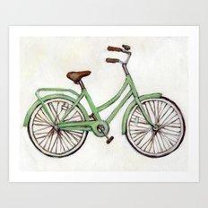 Bicycle / Green Cruiser Art Print