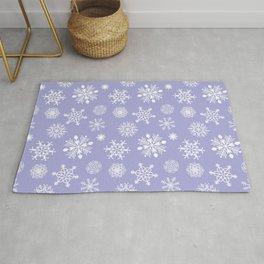 Snowflakes - White on Lavender Rug