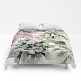 Circular Succulent Watercolor Comforters