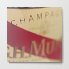 Champagne bottle, macro photography of old wine label on museum paper, still life, bar, home decor Metal Print