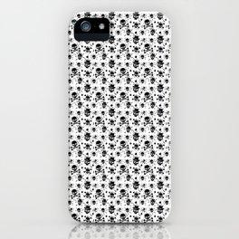 Black skull pattern on white - deluxe iPhone Case