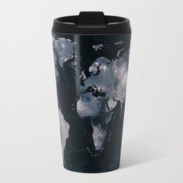 Dark Navy Marble World Map Travel Mug