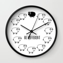 Typography Poster, Motivational, Be different, Black Sheep Wall Clock