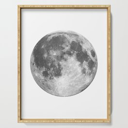 Full Moon phase print black-white monochrome new lunar eclipse poster home bedroom wall decor Serving Tray