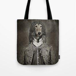 Afghan hound wearing a Louis XIV suit Tote Bag