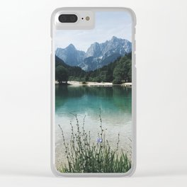 Panoramic view of lake and Majestic Mountain Clear iPhone Case