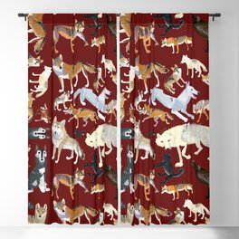 Wolves of the world Red Version Blackout Curtain