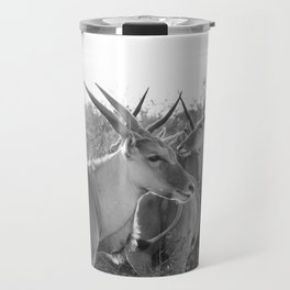 Herd of Eland stand in tall grass in African savanna Travel Mug