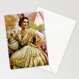 Mexican Calendar Girl in Embroidered Dress by Jesus Helguera Stationery Cards
