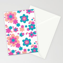 Teal Blue, Hot Pink, and Coral Floral Stationery Cards