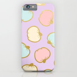 Pastel Pumpkin Pattern with Gold iPhone Case