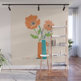 California Poppies in orange and teal vases Wall Mural