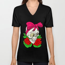 Halloween Skull Tattoo Unisex V-Neck