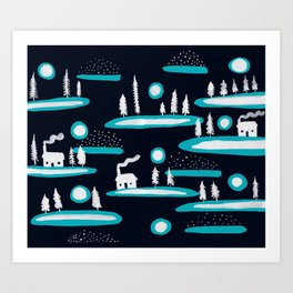 Snowy Cabins Art Print