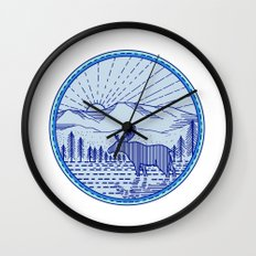 Moose River Flat Mountains Sunburst Circle Mono Line Wall Clock