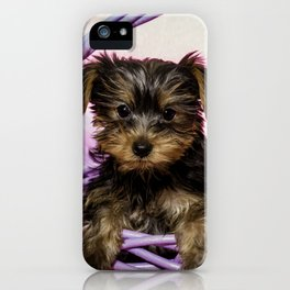 Yorkshire Terrier Puppy Sitting in a Purple Basket with Purple Floral Decorations and a Pink Backgro iPhone Case