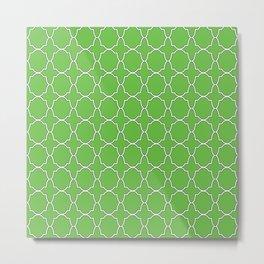 Green Quatrefoil Pattern Metal Print