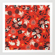victorian floral | red Art Print