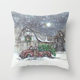 Wintery Night.  Throw Pillow
