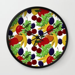 Different colorful juicy fruits Wall Clock