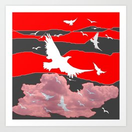 WHITE BIRDS IN FLIGHT RED-GREY SKY ABSTRACT Art Print