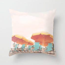 Beach Chairs and Umbrellas Throw Pillow