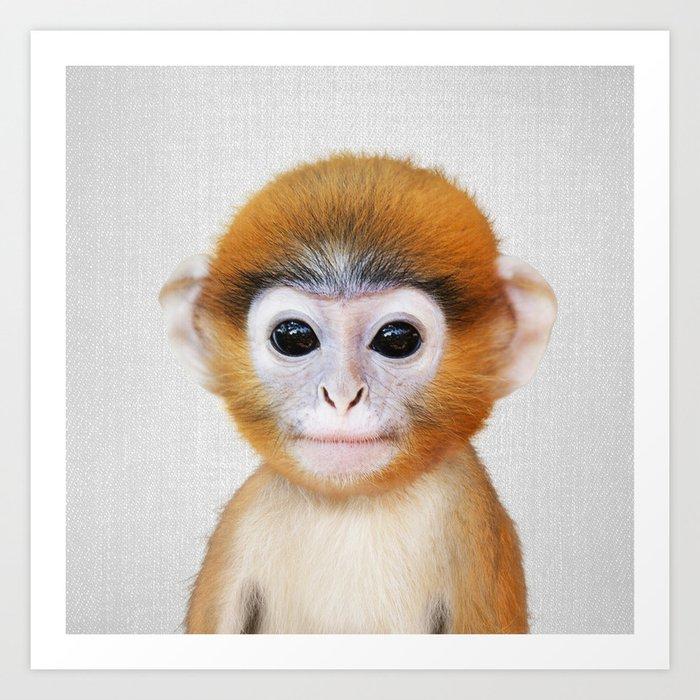 Baby Monkey - Colorful Kunstdrucke