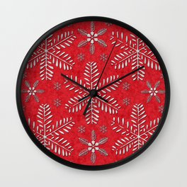 DP044-8 Silver snowflakes on red Wall Clock