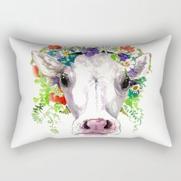 Cow and Flowers, Cow head floral Farm cattle head famr animals Rectangular Pillow