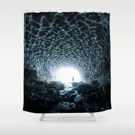 Glacial Ice Cave in the Mountains - Landscape Photography Shower Curtain