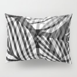 Layered Artistic Black White And Grey Leaf Vein Abstract Pillow Sham