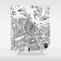 amsterdam Shower Curtains featuring AMSTERDAM by Maps Factory