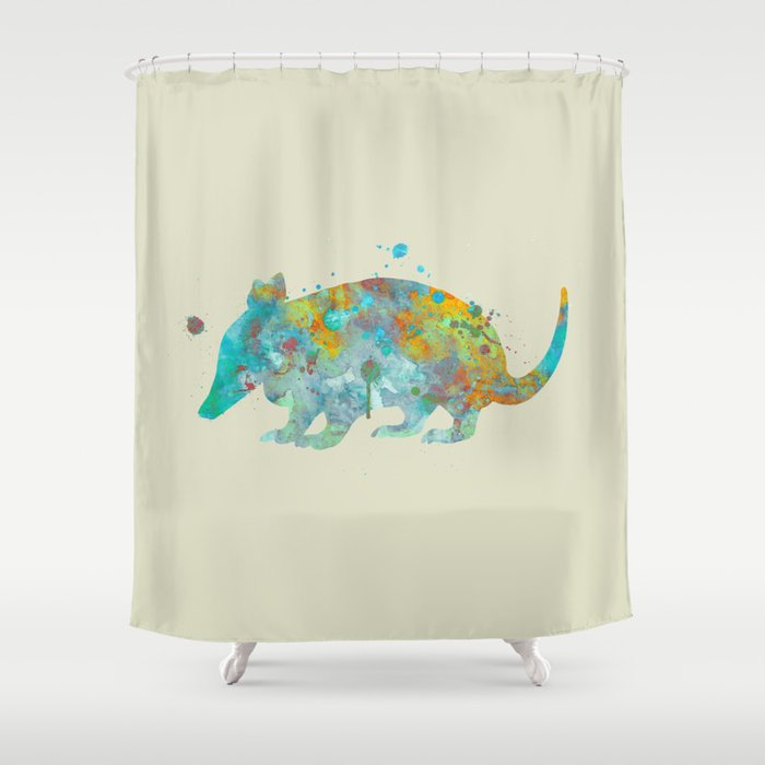 Armadillo Watercolor Painting Turquoise Aqua Mint Yellow Orange Shower Curtain By Miaomiaodesign Society6