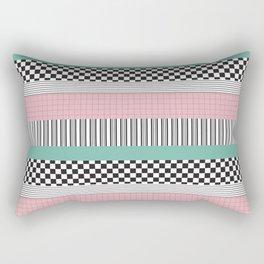 Pink and Teal Striped Pattern Rectangular Pillow