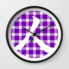 Plaid Royal Purple Person Wall Clock