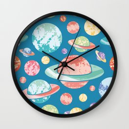 Textured Planets Pattern Wall Clock